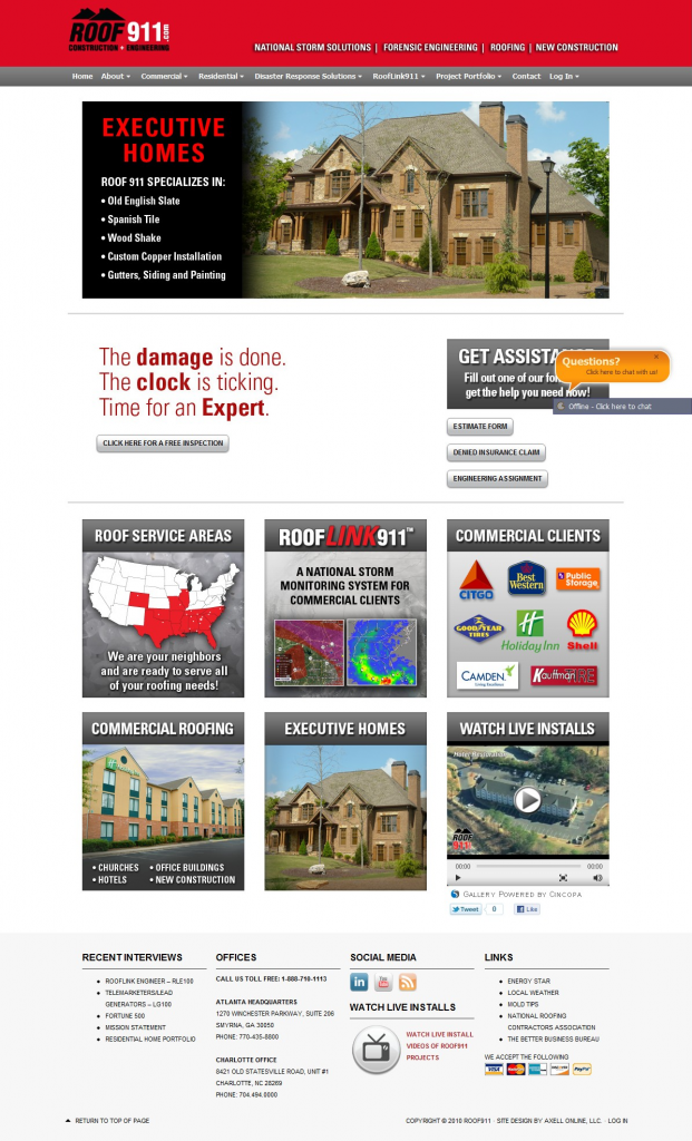 Roof911 New Home Page